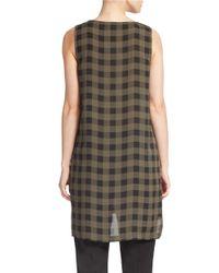 Eileen Fisher - Brown Printed Silk Tunic - Lyst