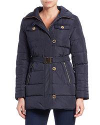 MICHAEL Michael Kors | Blue Convertible Faux Fur-trimmed Belted Coat | Lyst