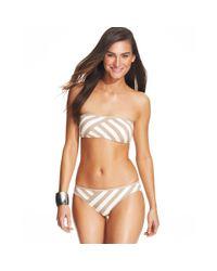 DKNY - Brown Striped Bikini Bottom - Lyst