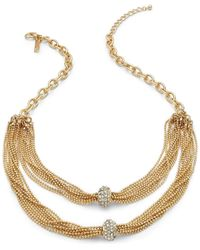 INC International Concepts | Metallic Gold-tone Clear Crystal Pave Rondelle Twisted Chain Necklace | Lyst