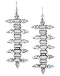Steve Madden - Metallic Silver-tone Faceted Crystal Linear Earrings - Lyst
