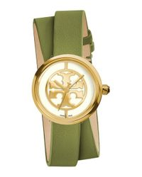 Tory Burch | Green 'reva' Logo Dial Double Wrap Leather Strap Watch | Lyst