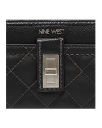Nine West | Black Flip Lock Zip Around Wallet | Lyst
