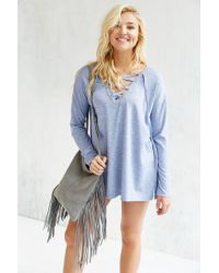 Silence + Noise - Blue Rex Lace-up Tunic Top - Lyst