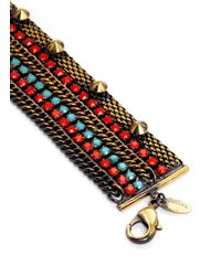 Iosselliani - Multicolor Chain And Stone Studded Bracelet - Lyst