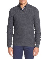 Ted Baker | Gray 'genwood' Cable Yoke Pullover Sweater for Men | Lyst