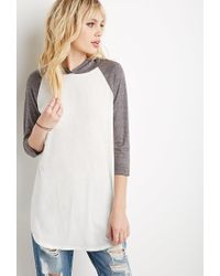 Forever 21 | White Hooded Baseball Tee | Lyst