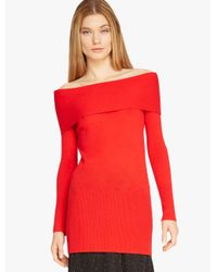 Halston | Red Off Shoulder Cashmere Sweater | Lyst