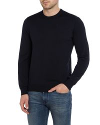Armani - Blue Plain Crew Neck Pull Over Jumpers for Men - Lyst