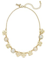 kate spade new york | Metallic Gold-Tone Enamel Flower And Faux Pearl Frontal Necklace | Lyst