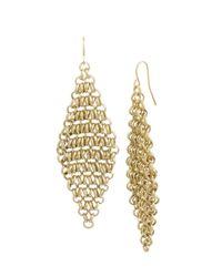Kenneth Cole | Metallic Goldtone Circle Link Chandelier Earrings | Lyst