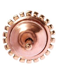 Kismet by Milka - Pink Gold Disc Black Diamond Stud Earring - Lyst