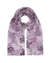 Eastex - Multicolor Etched Rose Print Scarf - Lyst