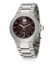 Fendi - Metallic High Speed Stainless Steel Dual Time Zone Watch for Men - Lyst