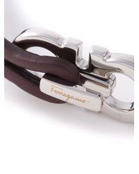 Ferragamo - Brown Gancini Bracelet for Men - Lyst