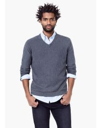 Mango - Gray Cable-knit Cotton Sweater for Men - Lyst