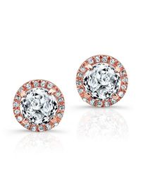 Anne Sisteron | Pink 14kt Rose Gold White Topaz Diamond Stud Earrings | Lyst