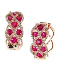 Effy | Red Gemma Ruby, Diamond And 14k Rose Gold Hoop Earrings | Lyst