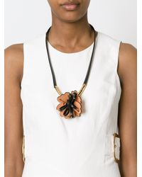 Marni | Black Flower Pendant Necklace | Lyst