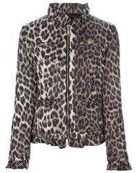 Love Moschino - Gray Leopard Print Padded Jacket - Lyst
