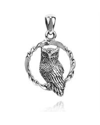 Aeravida | Metallic Twisted Circle Sitting Wise Owl .925 Silver Pendant | Lyst