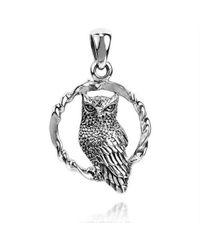 Aeravida | Metallic Twisted Circle Sitting Wise Owl .925 Silver Pendant | Lyst