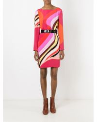 Emilio Pucci - Natural Abstract Print Longlseeved Dress - Lyst