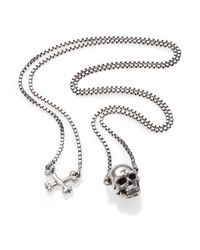 Tateossian - Metallic Sterling Silver Skull Necklace for Men - Lyst