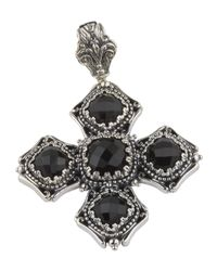Konstantino - Black Beaded Silver & Onyx Cross Pendant Enhancer - Lyst