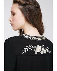 Forever 21 - Black Chevron Embroidered Kimono - Lyst