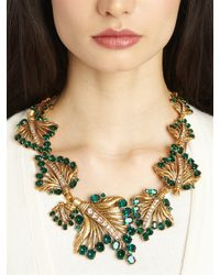 Oscar de la Renta - Metallic Jeweled Leaf Necklace - Lyst