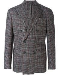 Dell'Oglio - Gray Checked Blazer for Men - Lyst