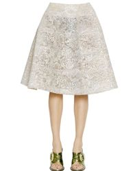 Rochas - Metallic Bonded Lace Lurex Skirt - Lyst