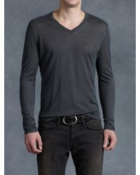 John Varvatos | Gray Linen V-neck for Men | Lyst