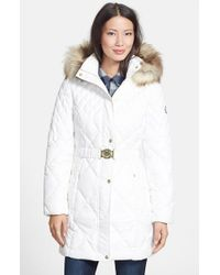 Guess | Natural Faux Fur Trim Diamond Quilted Coat | Lyst