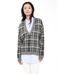 Banana Republic | Gray Plaid Vee Pullover | Lyst