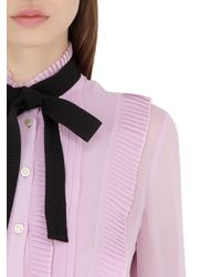 Gucci - Pink Ruffled Light Silk Georgette Shirt - Lyst