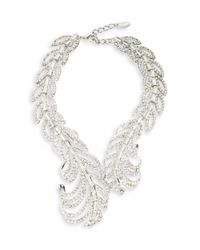 Cara | Metallic Rhinestone Leave Collar Necklace | Lyst