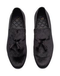 H&M   Black Velvet Slippers for Men   Lyst