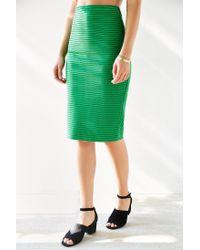 Silence + Noise - Green Revolt Striped Midi Skirt - Lyst