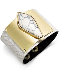 INC International Concepts | White Gold-tone Marble Print Stone Cuff Bracelet | Lyst