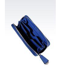Emporio Armani - Blue Zip Around Wallet In Logo Calfskin With Mobile Phone Case - Lyst