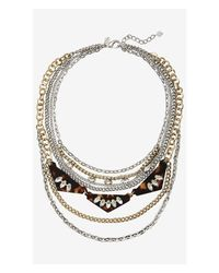 Express | Brown Mixed Chain And Stone Nested Necklace | Lyst