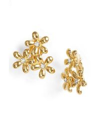 Lauren by Ralph Lauren | Metallic Flower Cluster Clip Earrings | Lyst