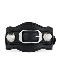 Balenciaga | Black Giant 12 Leather Buckle Bracelet | Lyst