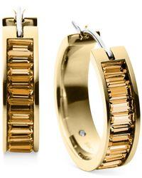 Michael Kors - Metallic Gold-Tone Crystal Baguette Small Hoop Earrings - Lyst
