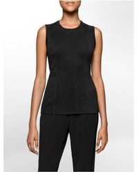 Calvin Klein | Black White Label Ultra Suede Sleeveless Sweater | Lyst