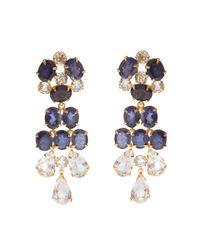 Bounkit | Metallic Iolite & Clear Quartz Chandelier Earrings | Lyst