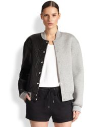 T By Alexander Wang - Gray Leather And Bonded Jersey Varsity Jacket - Lyst