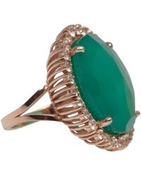 Suzanne Kalan - Rose Gold Green Onyx And White Sapphire Ring - Lyst